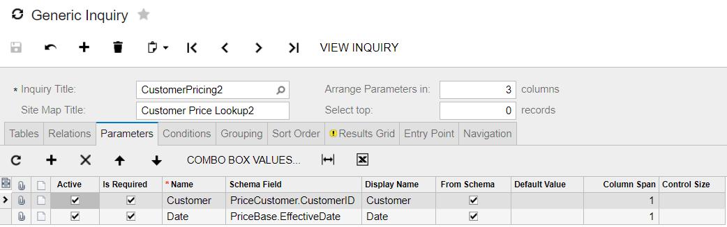 acumatica generic inquiry lookup parameters