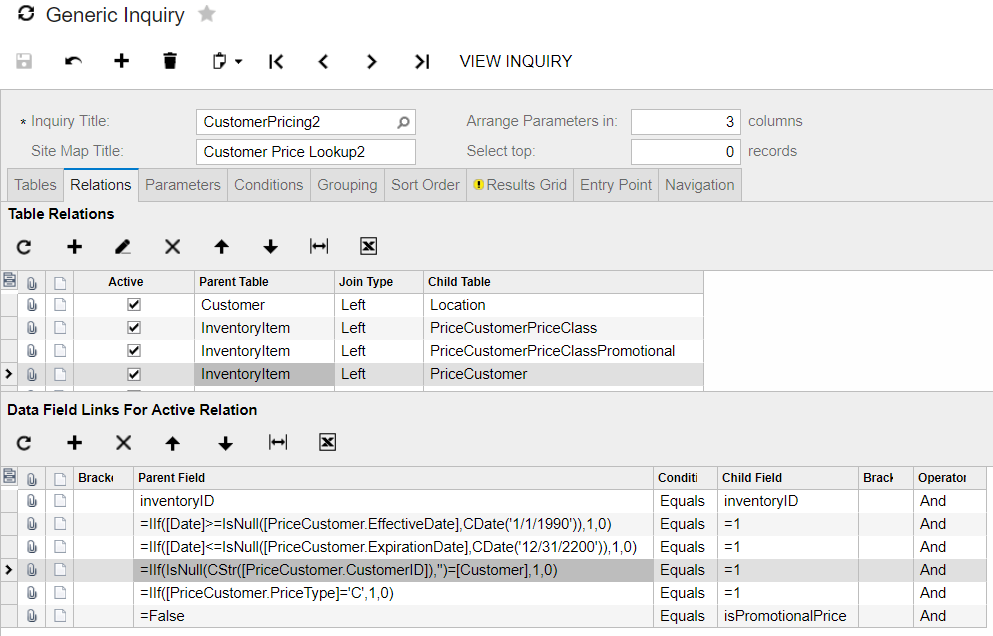 data field links for active relation for customer specific sales price