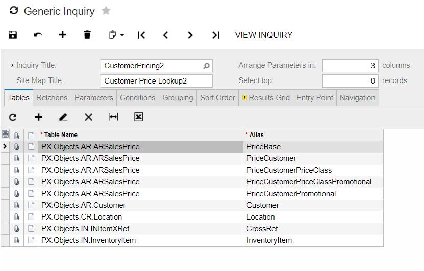 Acumatica Generic Inquiry customer pricing lookup