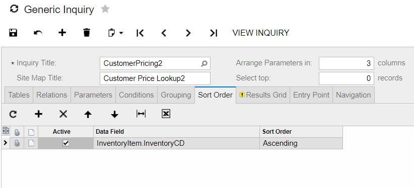 sort order in generic inquiry