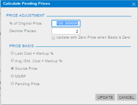 changing percentage of original price when copying pricing worksheets in Acumatica ERP