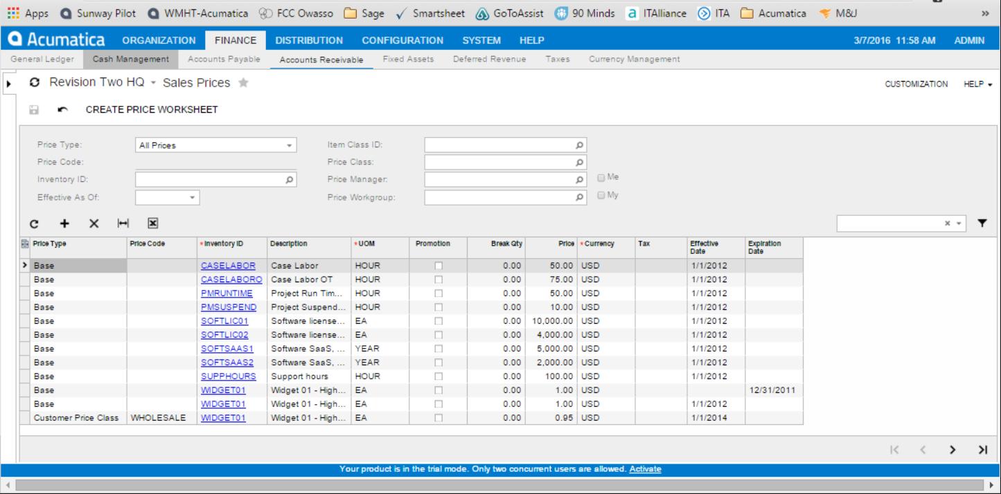 Acumatica Price Worksheet create screen