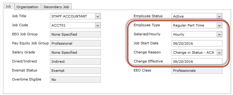 Browsing employees in My Workforce Analyzer by type, salary, start dates and changes