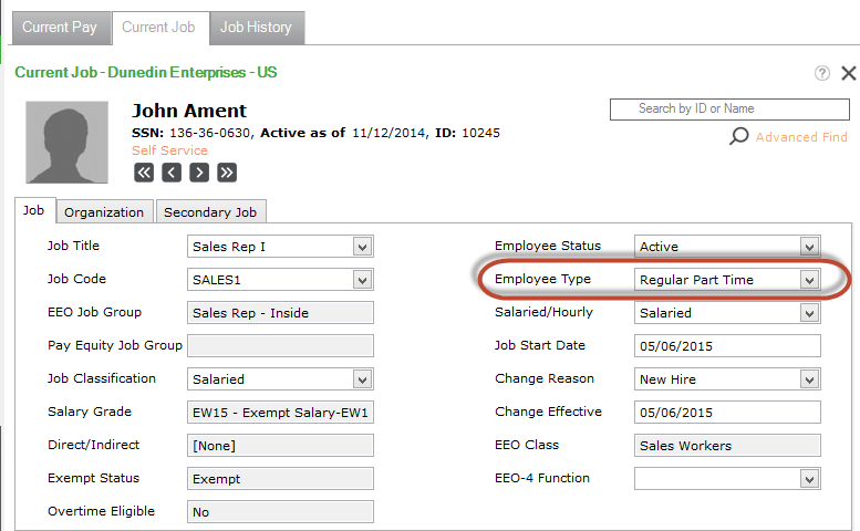 Current Job Employee Detail window in Sage HRMS