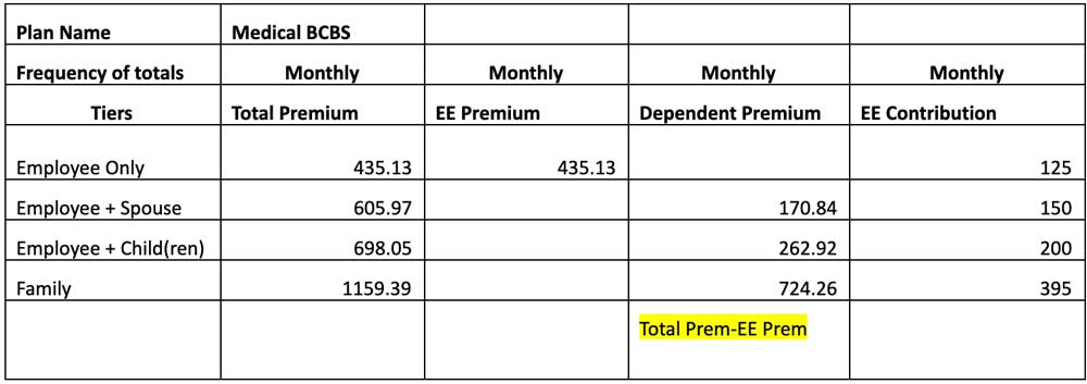 Example of spreadsheet breaking down cost of premium and employee contribution amounts
