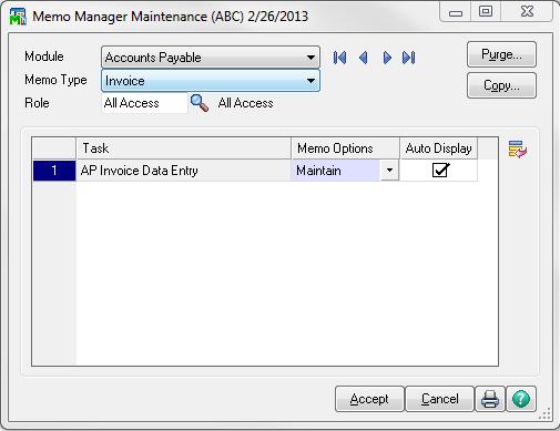 Memo Manager Maintenance Dialog Box Screenshot