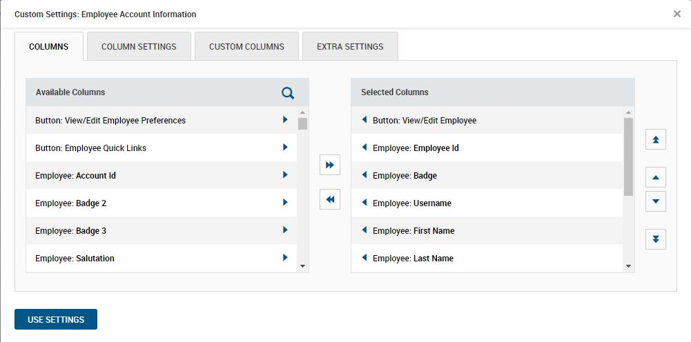 Custom Employee Account Information Settings in Kronos