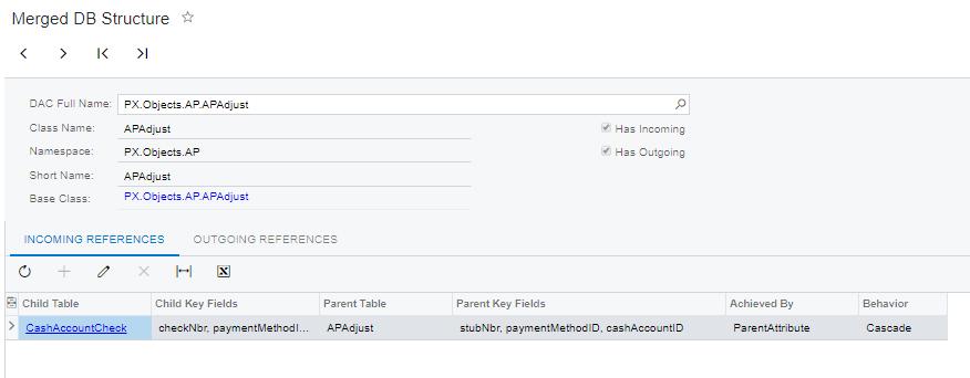 Acumatica Merged database structure dialog