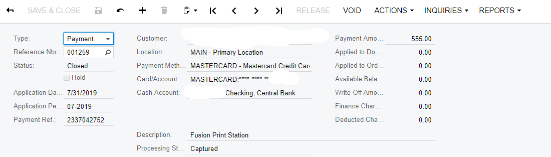 Payment method details dialog in Acumatica