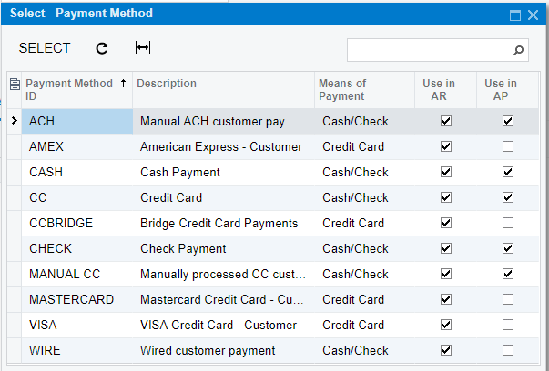 payment method selection dialog in Acumatica