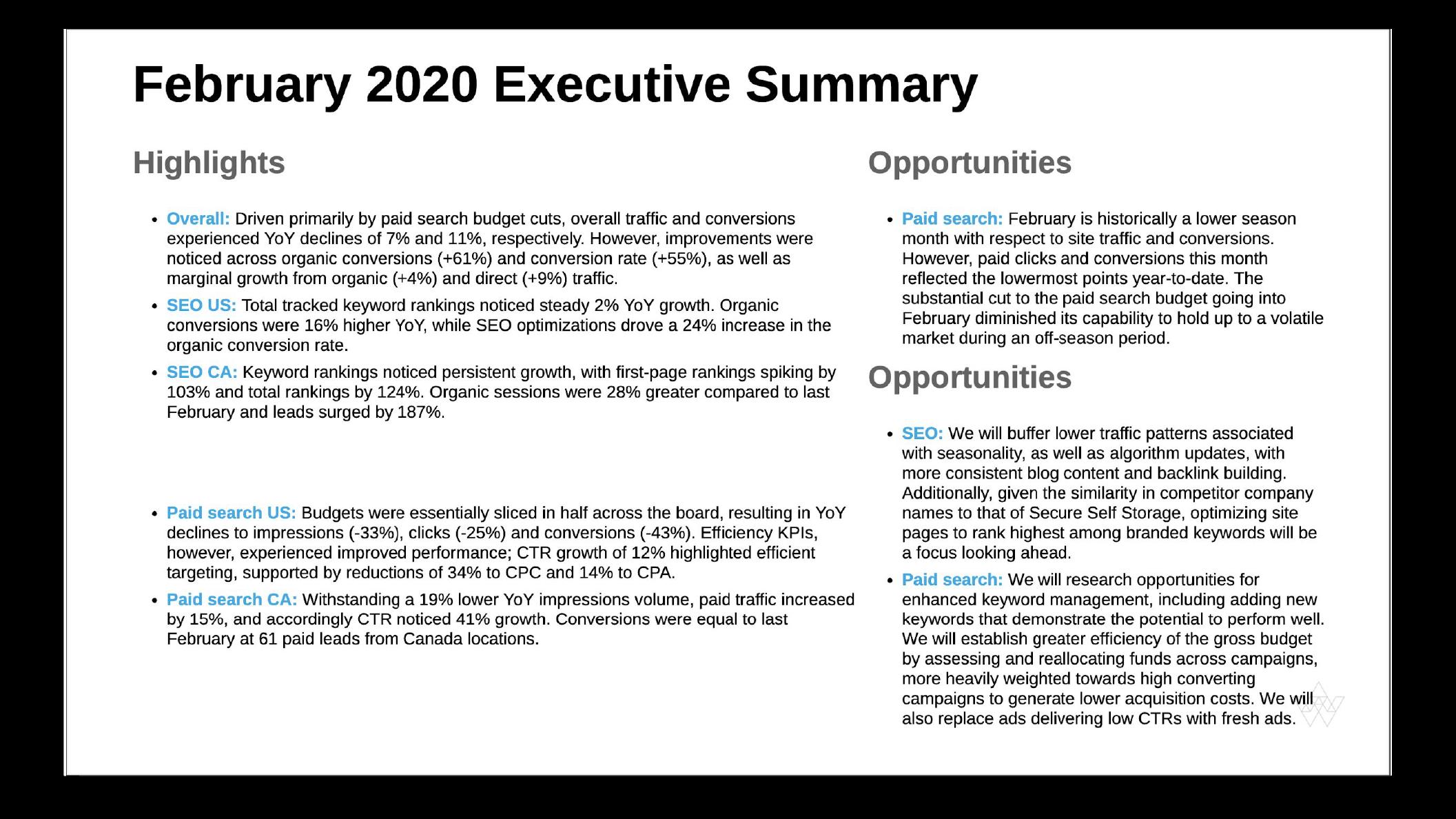 Executive Summary Slide Examples