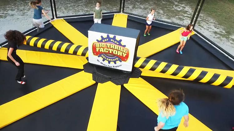wipeout trampoline at Big Thrill Factory