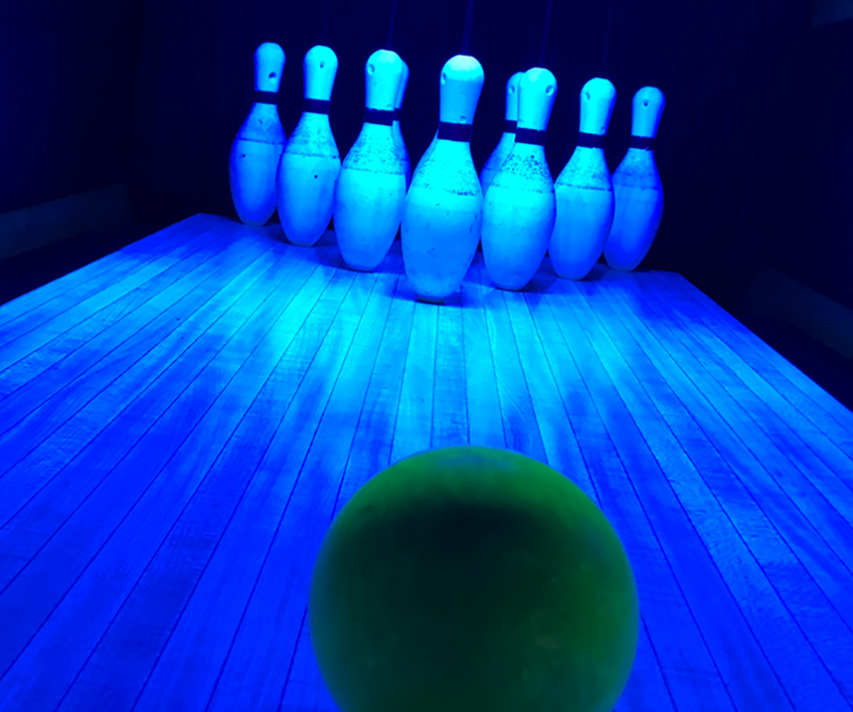 bowling under blacklights