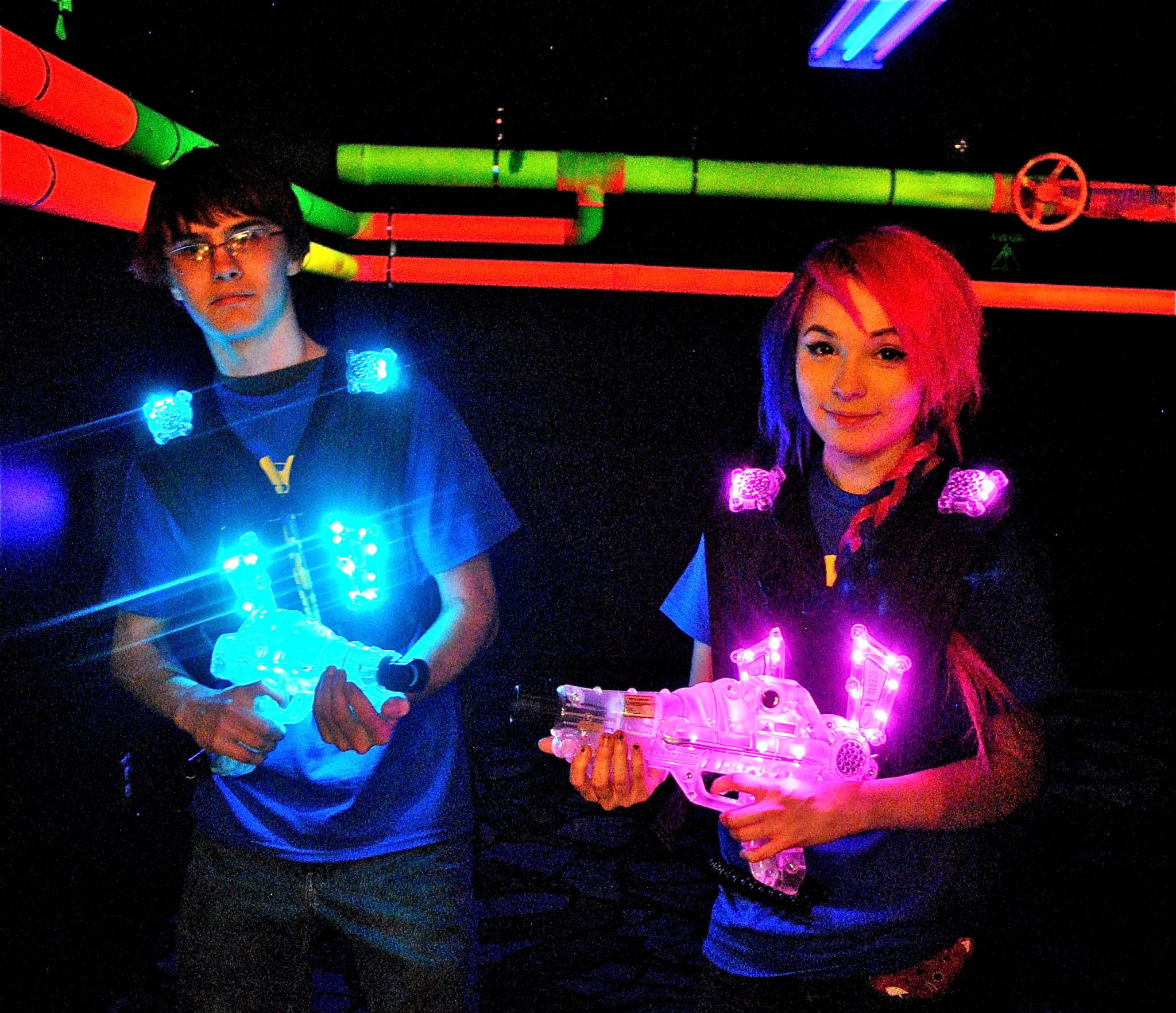 friends playing laser tag at Big Thrill Factory