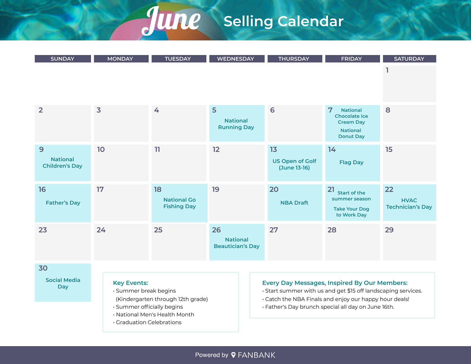 Fanbank June events calendar