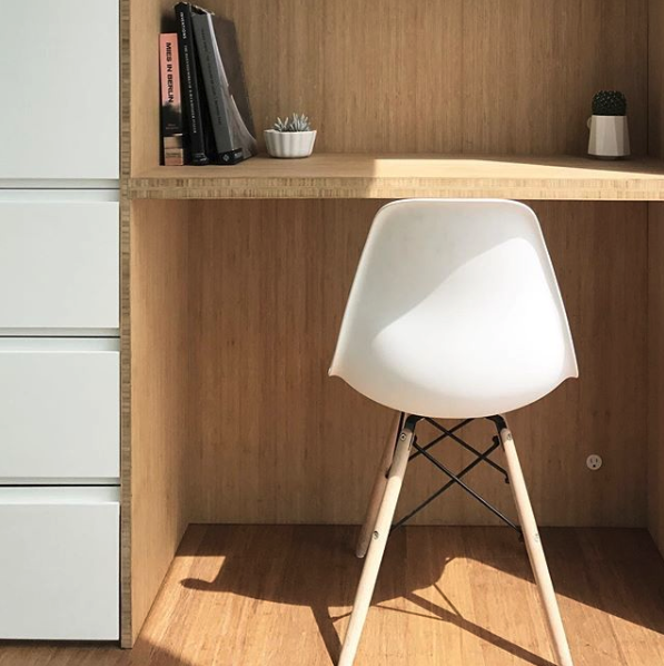 Cover's built-in bamboo desk and storage