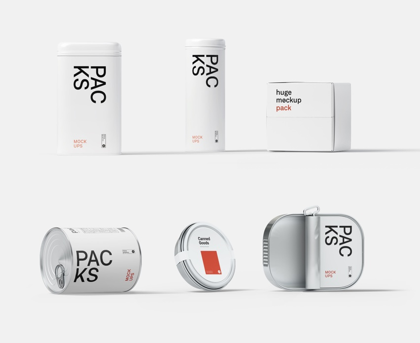 Tin boxes and canned goods mockups
