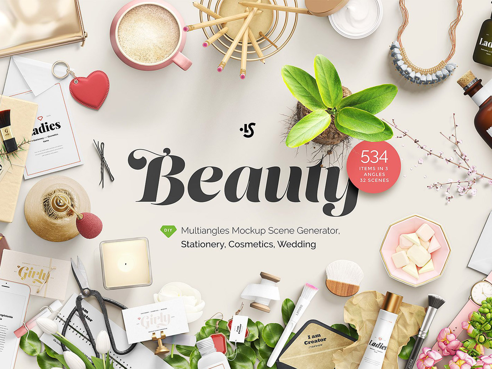 Multiangle mockup scene generator: cosmetics, stationary, wedding