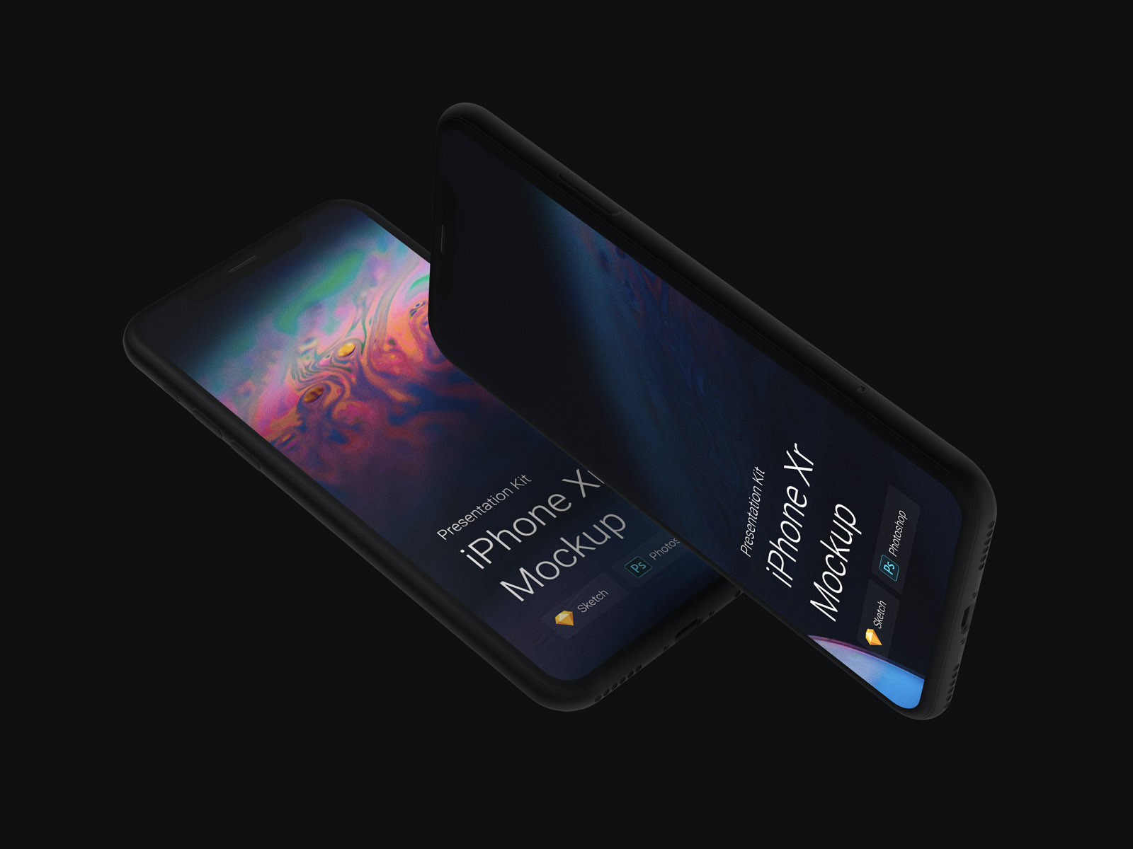 iPhone Xr mockups. Beautiful mockup set with a lot features