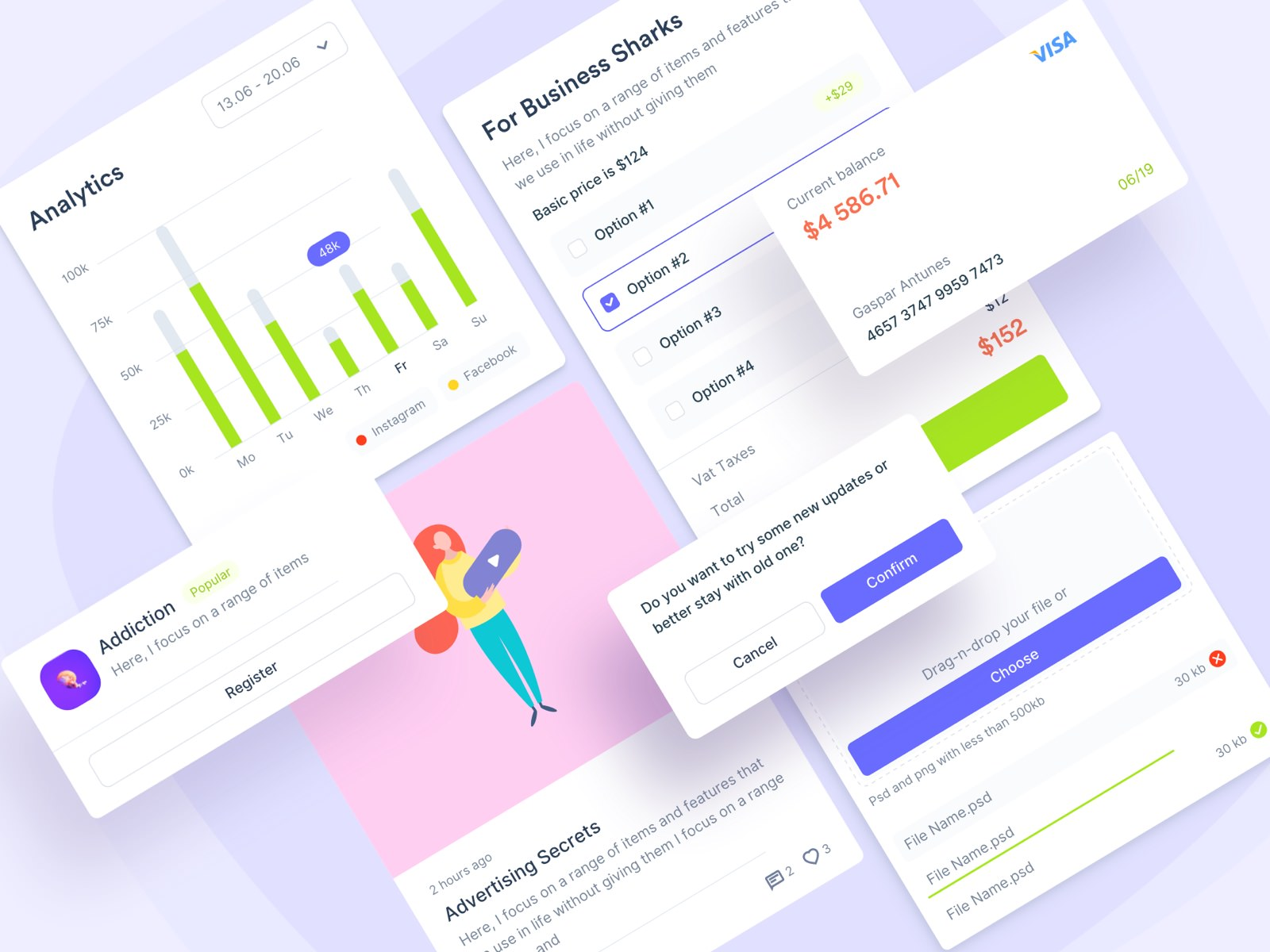 UI kit, dashboard, sketch