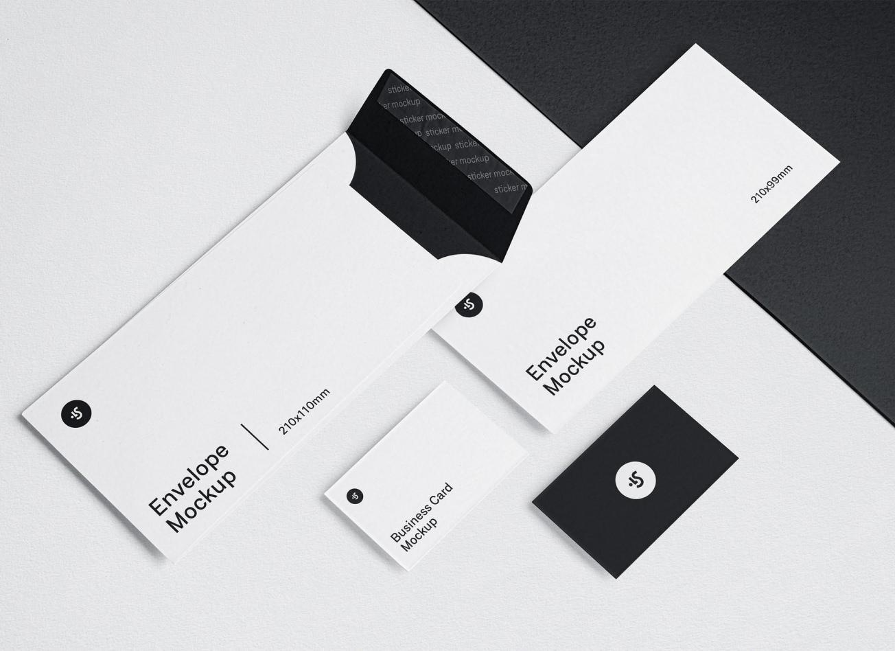 Business Card Mockup, Postcard Mockup, Envelope Mockup
