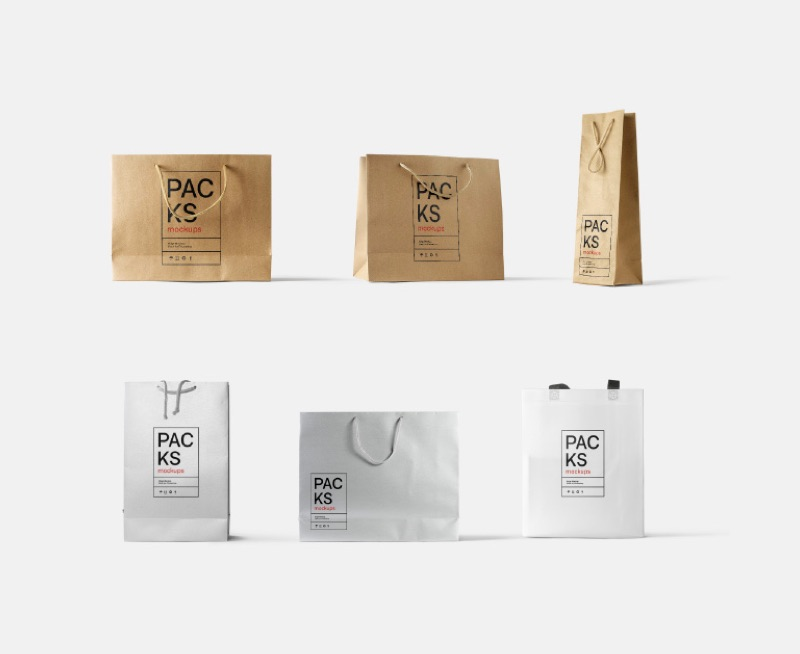 Bags mockups. In kraft, paper, glossy materials