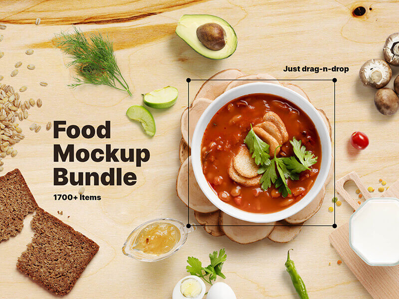Food Mockup Bundle. All types of packages mockups and a lot of environment items