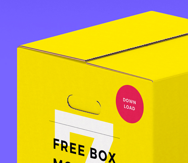 Free 7 Different Colours Boxes Mockups