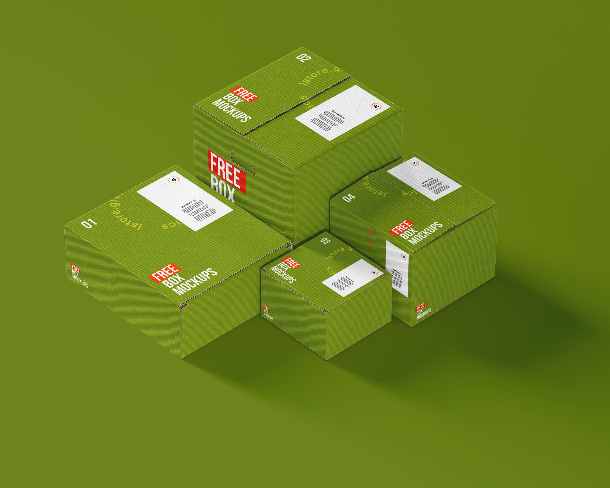 Free 7 Changeable Boxes Mockups