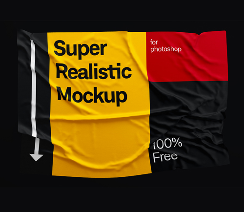 Free Fabric Wrinkled Mockup