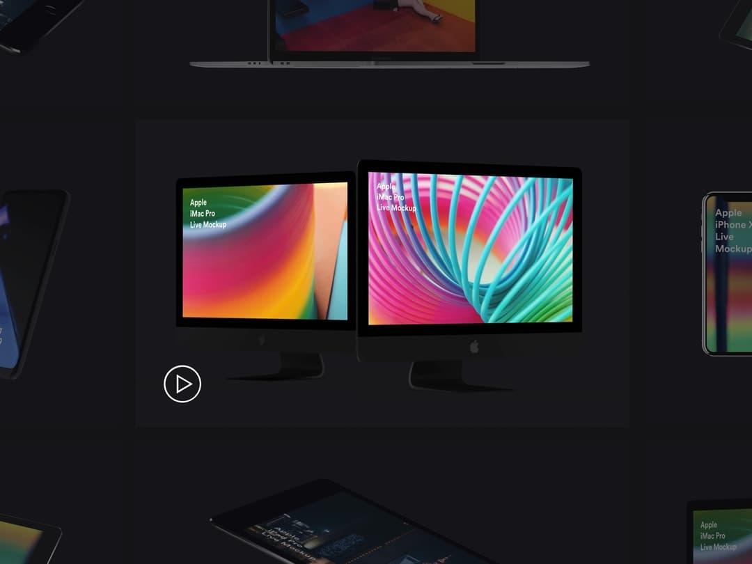 Animated mockups bundle. iMac Pro, Galaxy S9, Surface Studio, iPhone X, iPhone 8, iPad live mockups