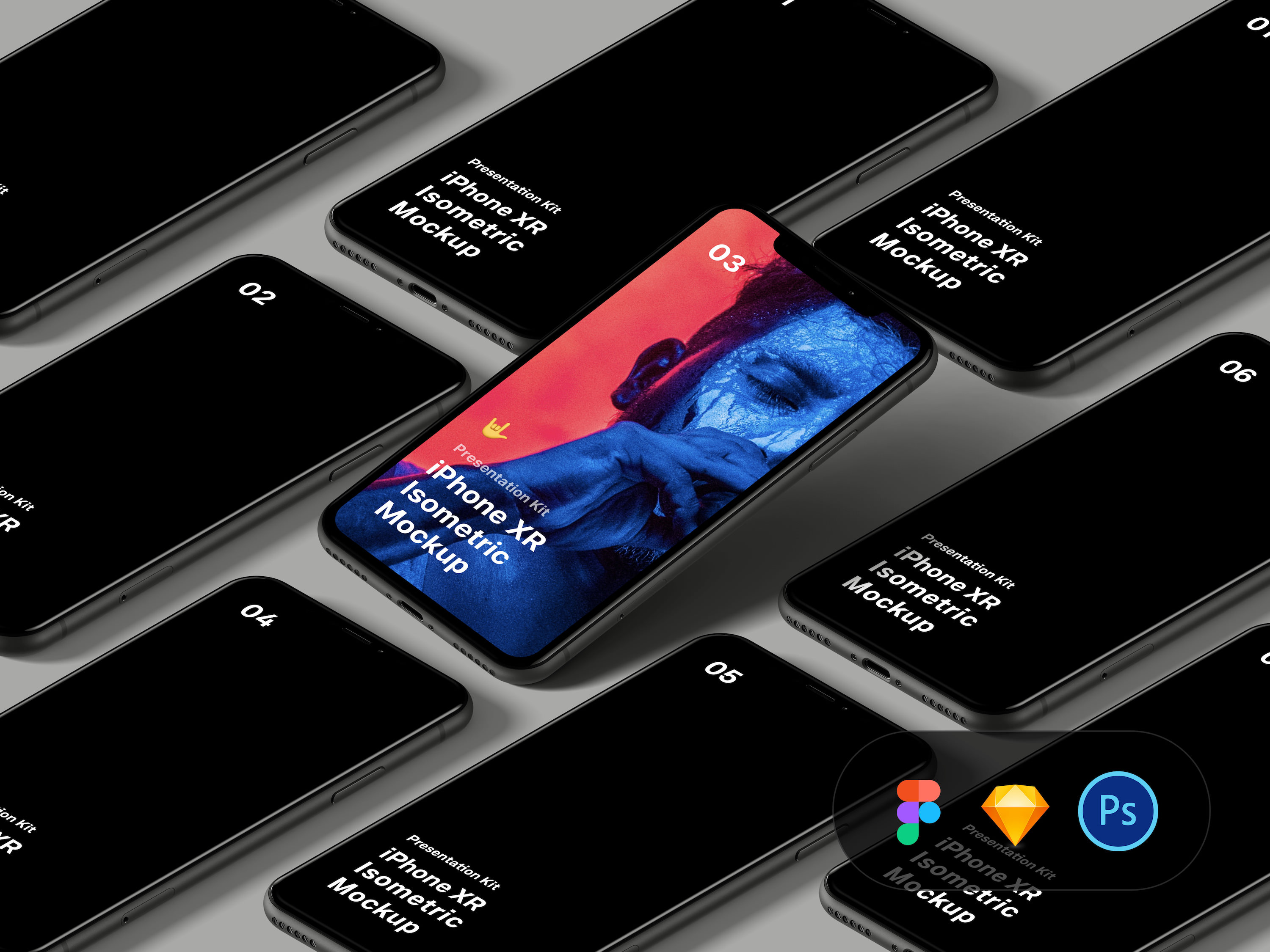 Free Isometric iPhone XR Mockup