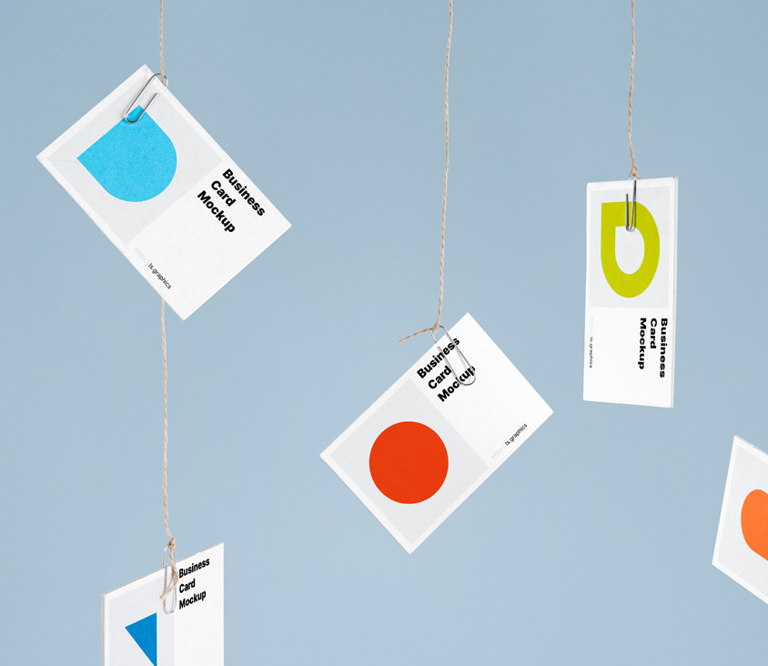 Free Hanging Business Card Mockups