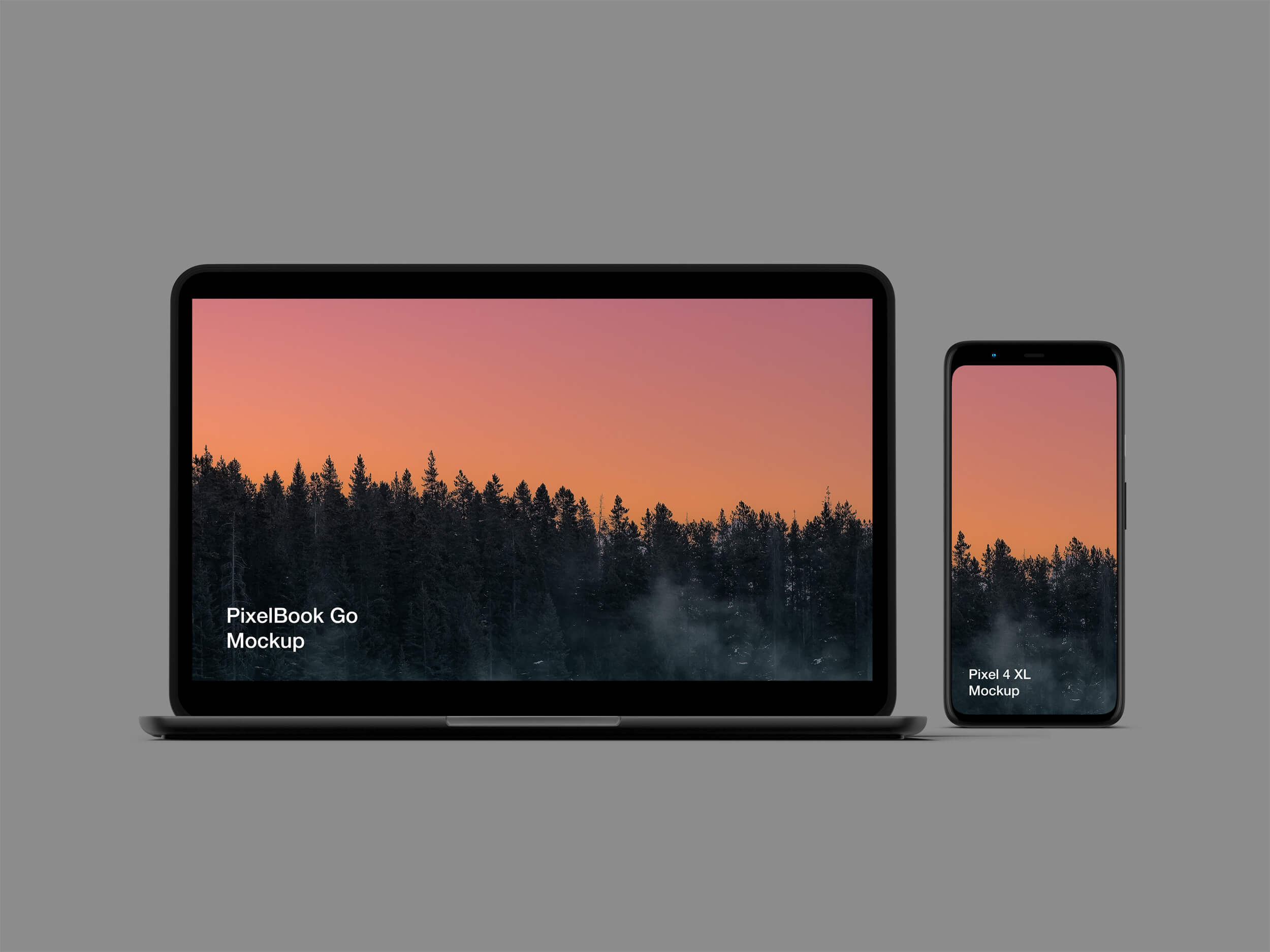 Google PixelBook Go and Pixel 4 XL Mockup