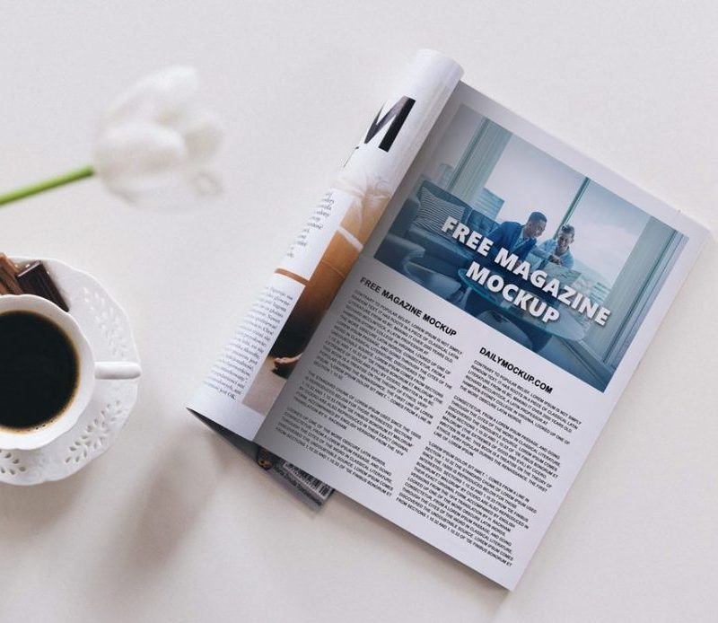Magazine with Cup of Coffee Mockup Scene