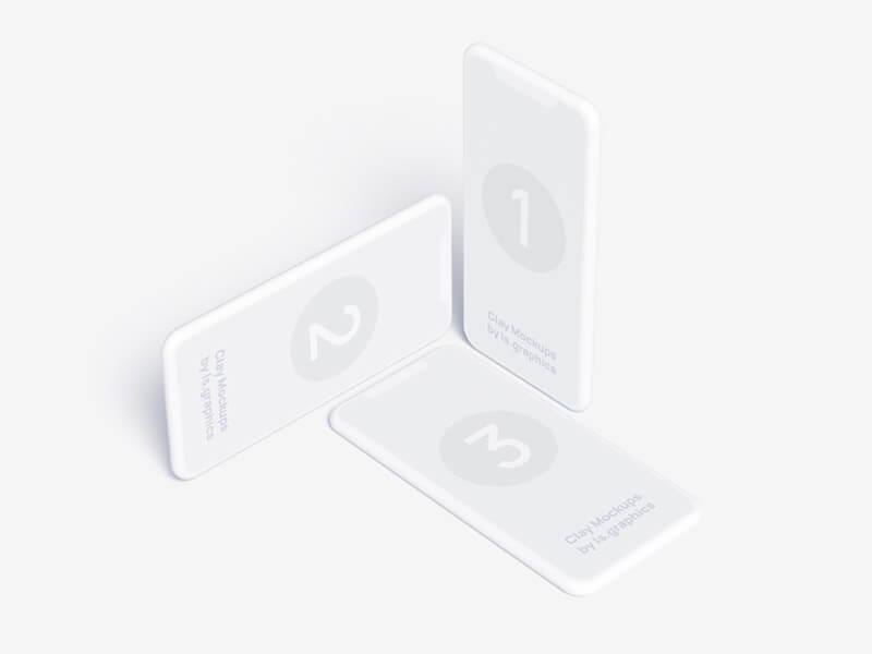 Three iPhone Clay Mockups