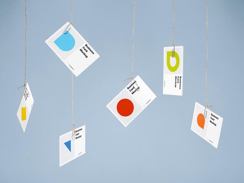 Free Hanging Business Card Mockups