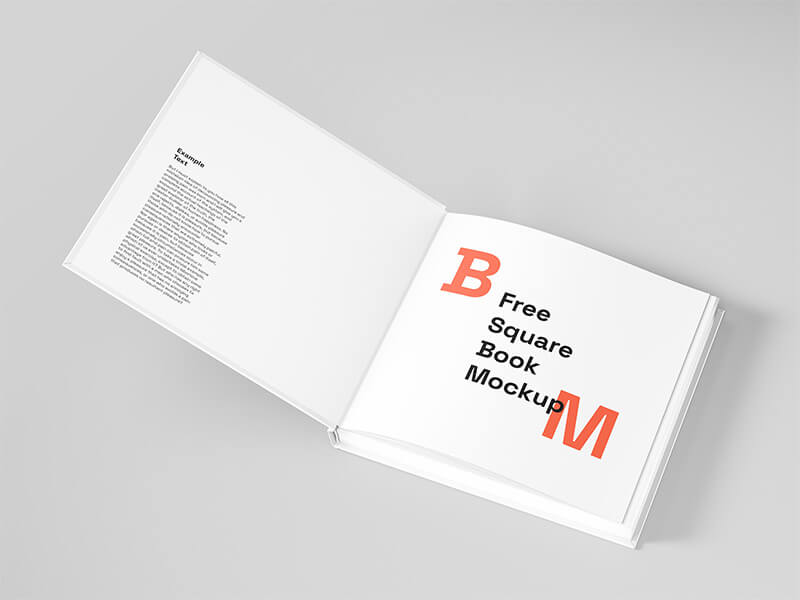 Square book mockup. High resolution, excellent details and easy-to-use. Suitable for all kinds of presentations, for publication in your portfolio, in Dribbble and Behance.