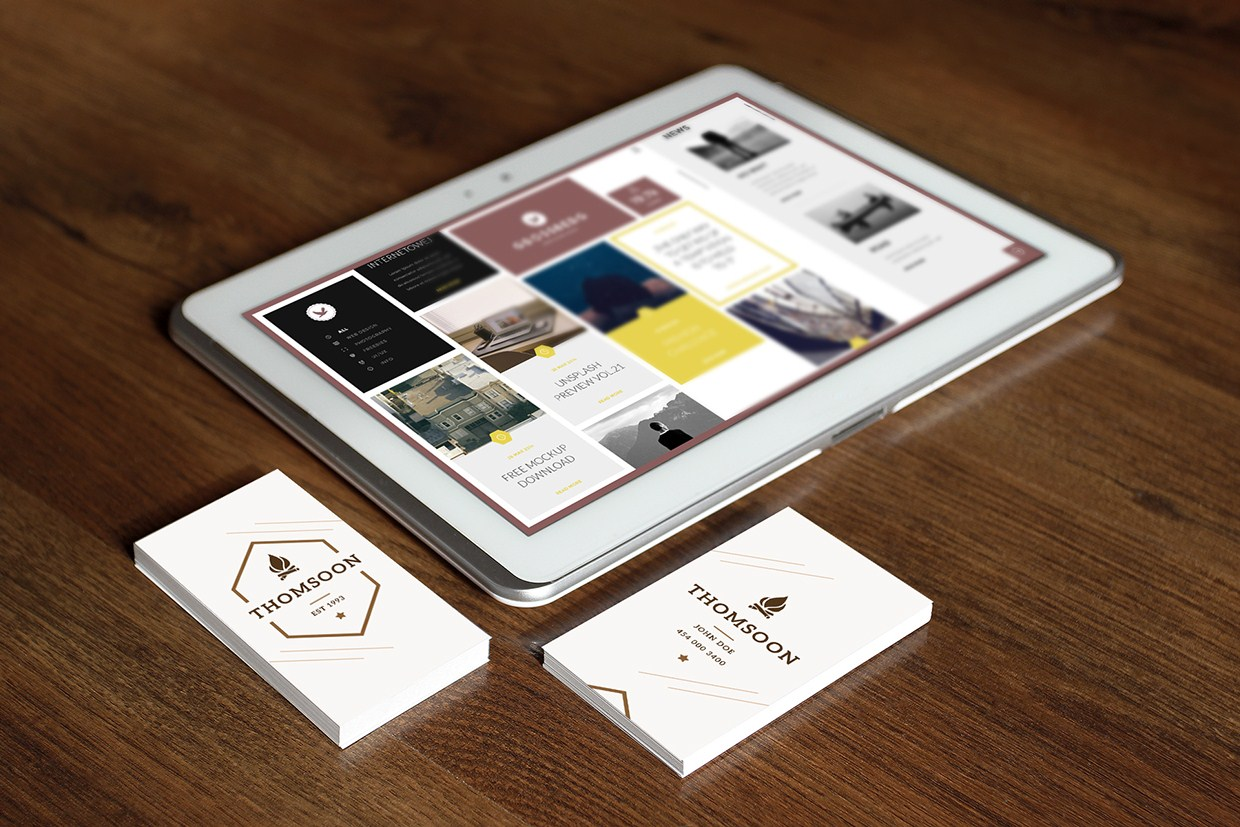 Set of Business Cards and Tablet Mockups