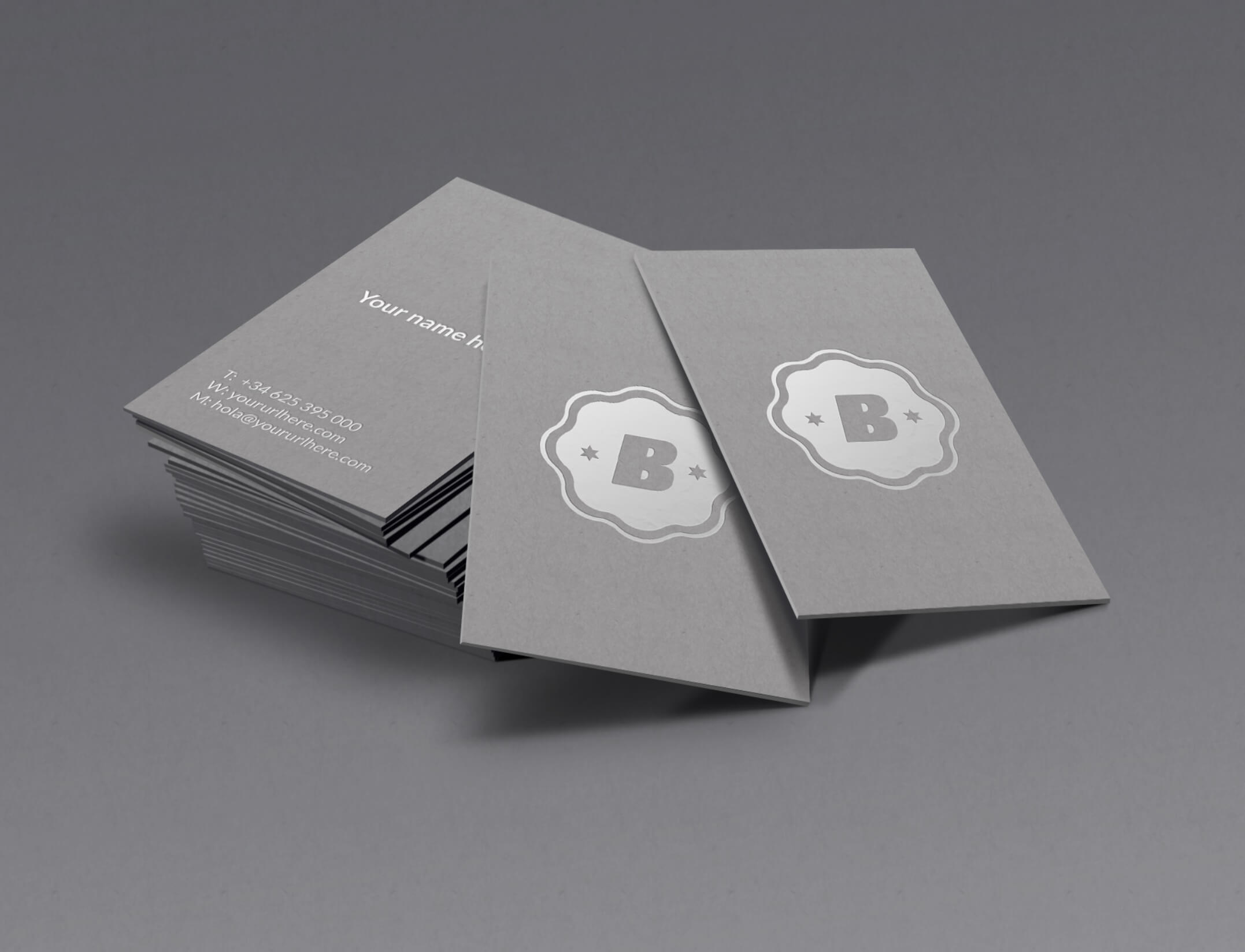 Business Card Mockup with Silver Embossing