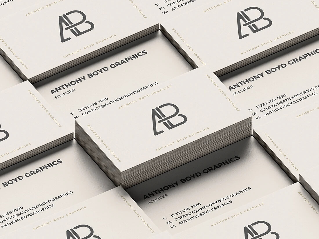 Business Card Mockups in a Stack