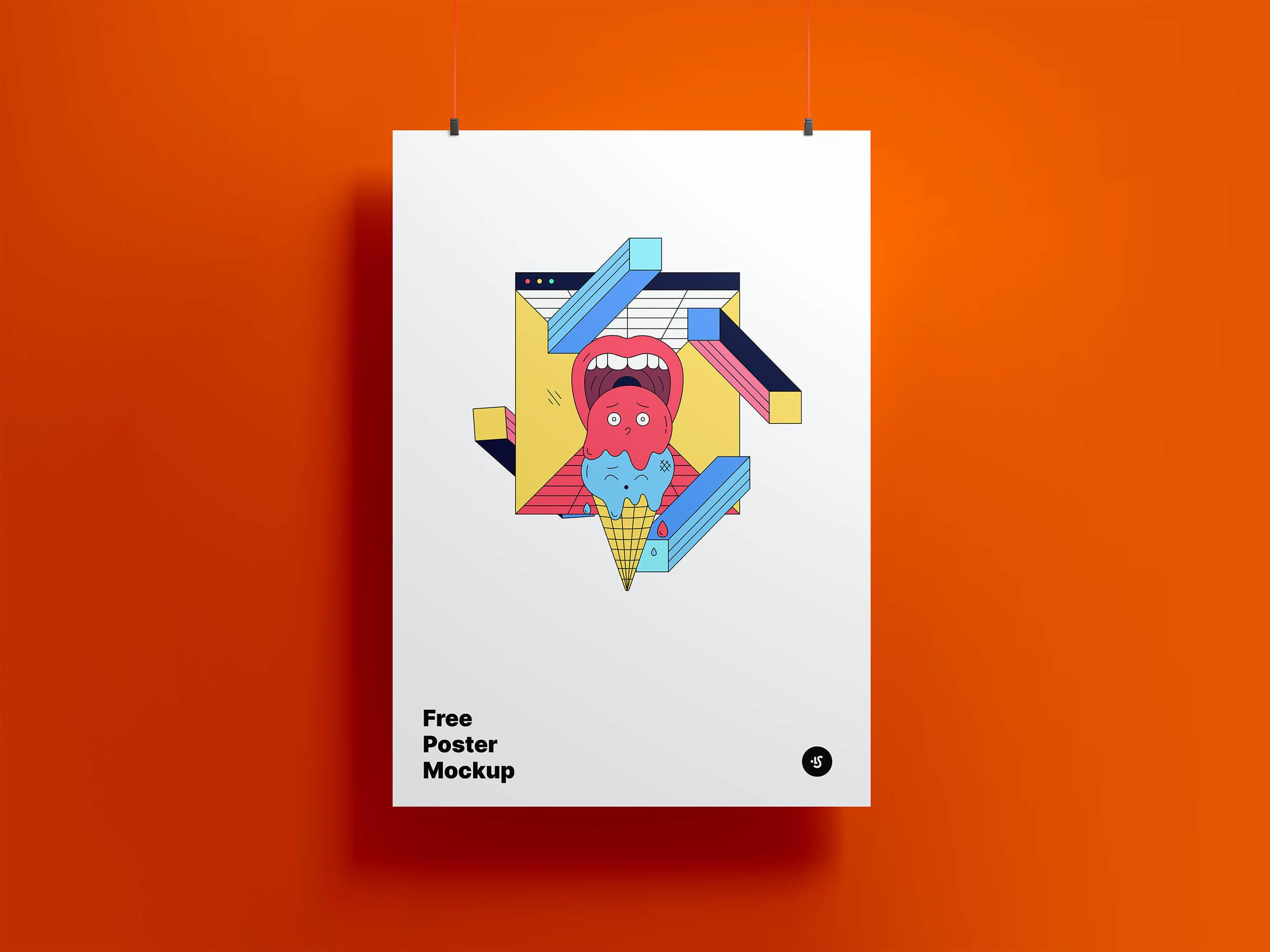 Free Hanging Poster Mockup