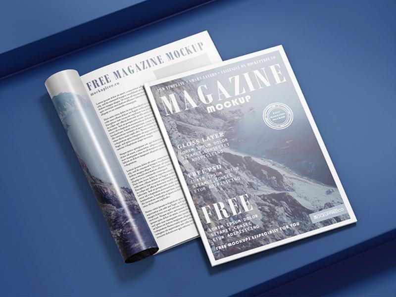Free Realistic Magazines Mockup