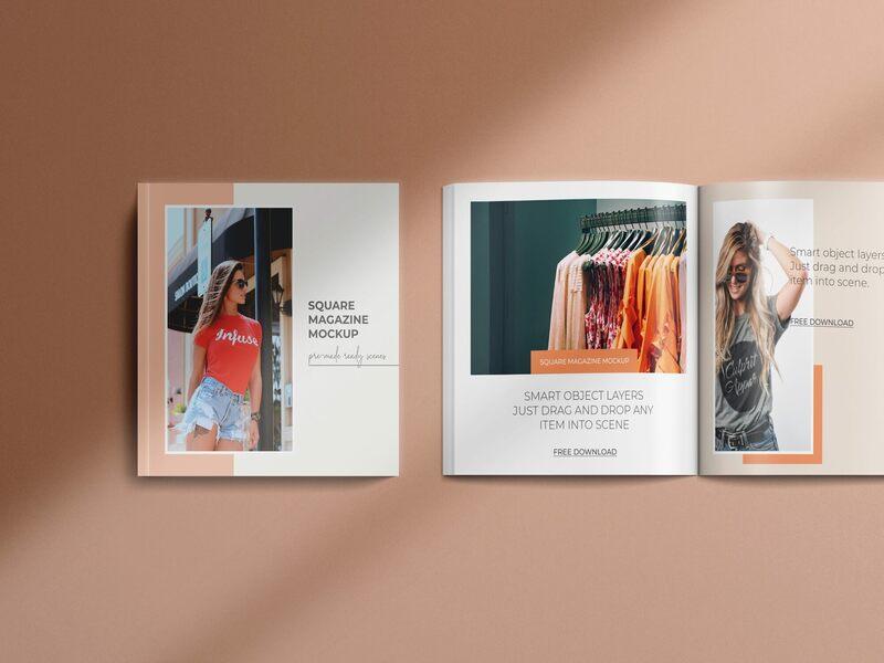 Square Magazine PSD Mockup Set