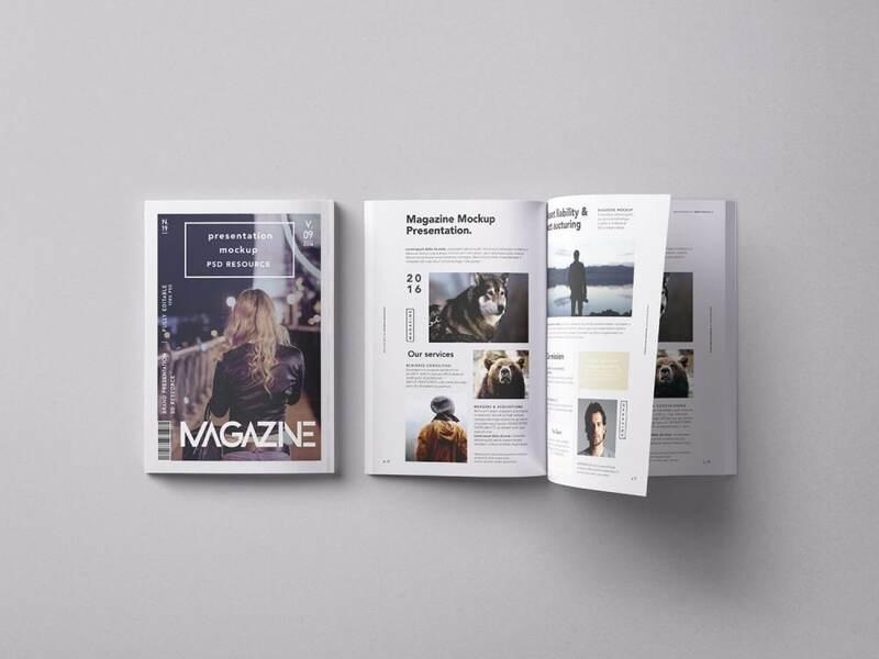 Free Back and Open Magazine Mockup