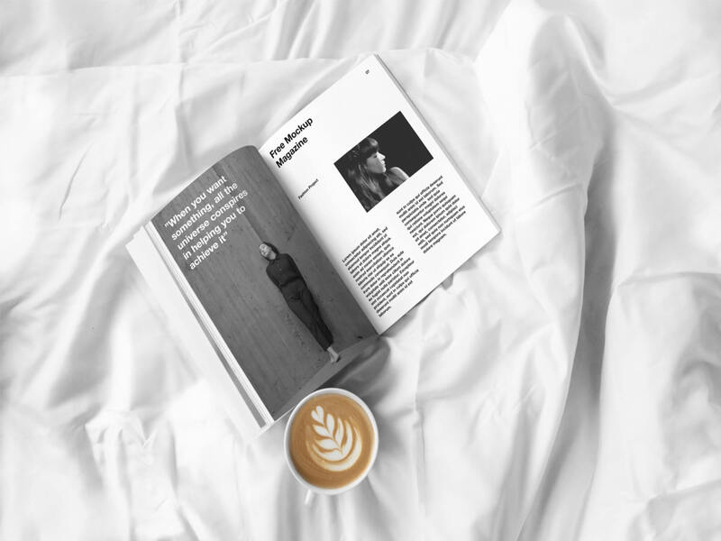 Open Magazine and Coffee Cup Mockup