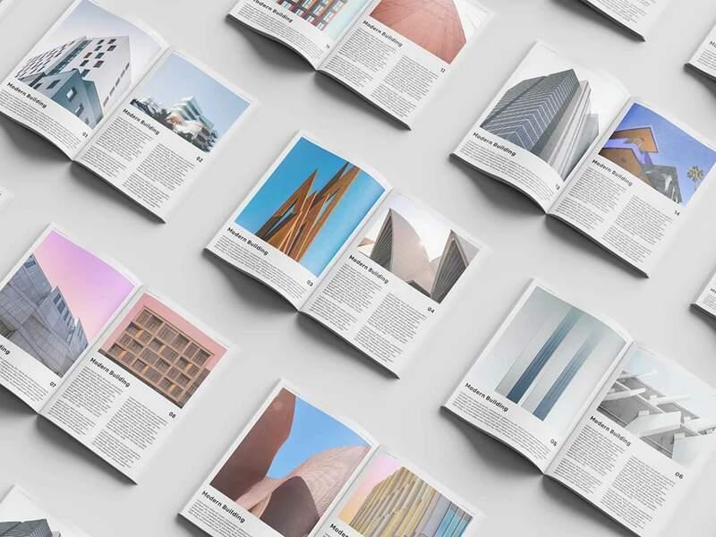 Free Open Magazine Set Mockup