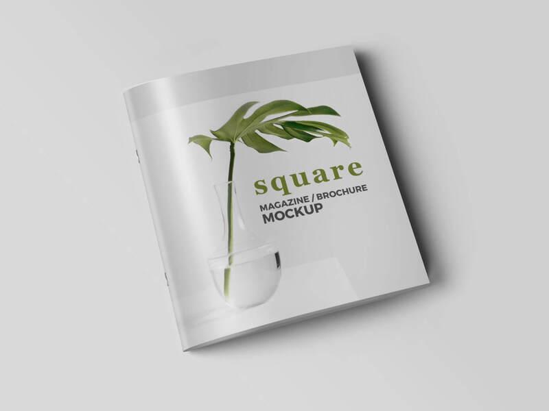 3 PSD Square Magazine Brochure Mockup
