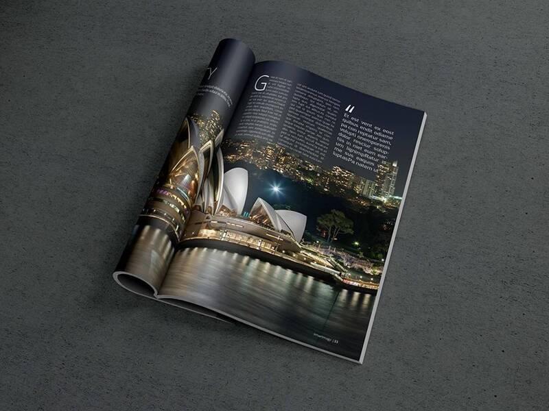 Free Photorealistic Open Magazine Mockup