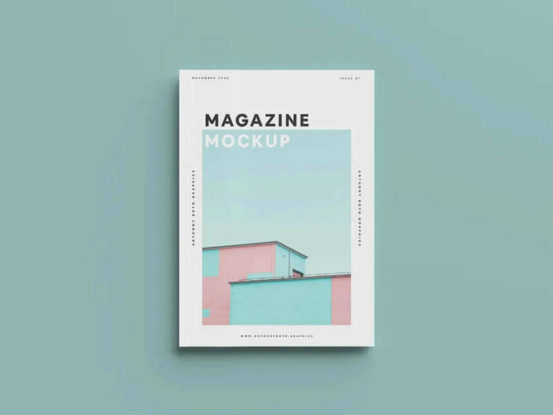 Free Top View Magazine Cover Mockup